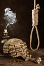 Capital punishment symbolized with judge s wig and noose Stock Photography