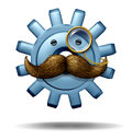 Capitalist boss and big business symbol of a financial wealth executive as a three dimensional gear or cog with a big mustache and Royalty Free Stock Images