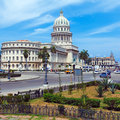 The capitol building havana at morning with urban traffic Royalty Free Stock Image