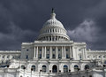 Capitol dome with dark storm sky us building in washington dc Royalty Free Stock Images