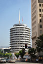 Capitol records tower the building also known as the is a hollywood boulevard commercial and entertainment Royalty Free Stock Photography