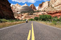 Capitol reef riding a harley davidson in national park in utah Stock Photography