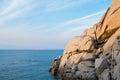 Capo testa rock formations at sunset in santa teresa di gallura sardinia italy Royalty Free Stock Image