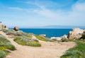 Capo testa trekking along the coast in santa teresa di gallura sardinia italy Royalty Free Stock Photos