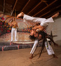 Capoeira performers shoulder throw men throwing partner over his shoulders Royalty Free Stock Image