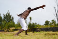 Capoeira young man performing dancing Royalty Free Stock Images