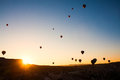 Cappadocia balloons turkey beautiful flight stone landscape Stock Image