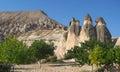 Cappadocia fairy chimneys rock formation nearby goreme in turkey capadocia turkish kapadokya eastern anatolia and urgup are Stock Photo