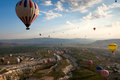 Cappadocia hot air balloon over rock formations in turkey Stock Photo