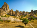 Cappadocia rocks landscape view Royalty Free Stock Photo
