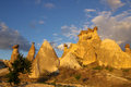 Cappadocia turkey in central anatolia at sunset Stock Photo
