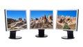Cappadocia Turkey panorama in computer screens Royalty Free Stock Photo