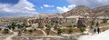 Cappadocia turkey panoramic photo this beautiful and fabulous word is the region in the central part of on the anatolian plateau Royalty Free Stock Images