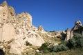 Cappadocia valley details of cappadocian uchisar ancient region turkey Royalty Free Stock Photos