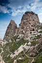 Cappadocia valley. Uchisar cave castle. Stock Photo