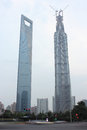 Capped jinmao tower shanghai lujiazui highest landmark in Stock Images