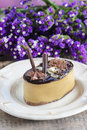 Cappuccino cake on white plate purple flowers in the background selective focus Royalty Free Stock Photo