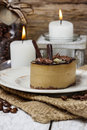 Cappuccino cake on white plate selective focus Royalty Free Stock Photos