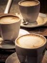 Cappuccino closeup of coffee outdoor shot Stock Photo
