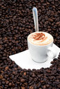 Cappuccino on coffee beans Stock Photo
