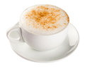 Cappuccino coffee cup isolated on white sprinkled with sugar Royalty Free Stock Images