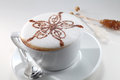 Cappuccino a cup of nicely decor Royalty Free Stock Photography