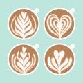 Cappuccino foam drawing. Coffee art.
