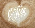 Cappuccino foam viewed from top with calligraphic text vector illustration Stock Photos
