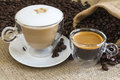 Cappuccino and fresh espresso Royalty Free Stock Photo