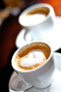 Cappuccino or latte coffee in cup white Stock Photo