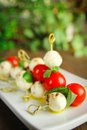 Caprese presentation delicious bocconcini tomato and basil on toothpick Royalty Free Stock Photos
