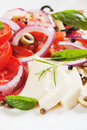 Caprese salad with mozzarella, tomato and basil Royalty Free Stock Images