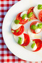 Caprese salad on white plate Stock Images