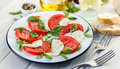 Caprese salad on a white plate Royalty Free Stock Photo