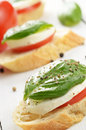 Caprese sandwiches of mozzarella tomato and basil Stock Images