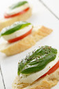 Caprese sandwiches of mozzarella tomato and basil Royalty Free Stock Images