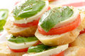 Caprese sandwiches with mozzarella of tomato and basil closeup Royalty Free Stock Photos