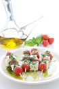 Caprese skewer with tomato and mozzarella Royalty Free Stock Image