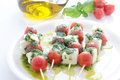 Caprese skewer with tomato and mozzarella Royalty Free Stock Photo