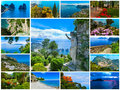 Capri, beautiful and famous island in the Mediterranean Sea Coast, Naples. Italy. Collage Royalty Free Stock Photo