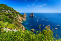 Capri island,beach and Faraglioni cliffs,Italy,Europe Royalty Free Stock Photo