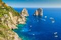 Capri island and faraglioni cliffs italy europe panorama the majestic tyrrhenian sea Royalty Free Stock Photography