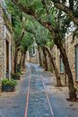 Capri Island street under cloudy sky after storm Royalty Free Stock Photo