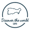 Capri Map Outline. Vintage Discover the World. Royalty Free Stock Photo