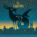 Capricorn sign in the starry sky night city Royalty Free Stock Photos