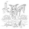 Capricorn zodiac sign as a beautiful girl. astrology - vector il