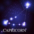 Capricorn zodiac sign of the beautiful bright stars on background cosmic sky Royalty Free Stock Images