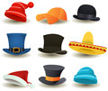 Caps, Top Hats And Other Head Wear Set Royalty Free Stock Photography
