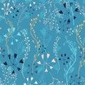 Capsella flower, Shepherd`s purse, Capsella bursa-pastoris, the entire plant, hand drawn vector floral seamless pattern