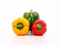 Capsicum capsicums on the white background Royalty Free Stock Image
